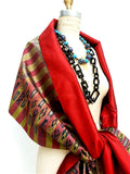 Silk Ikat Double Side Shawl Red Gold Bars