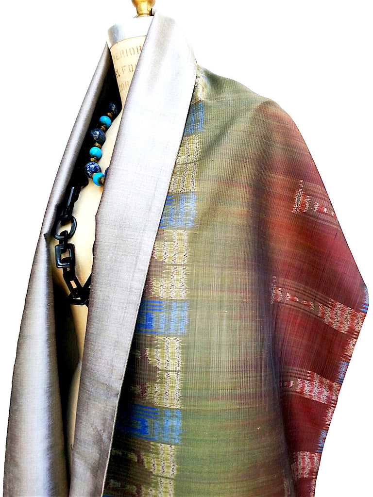 Silk Ikat Double Side Shawl Green Silver