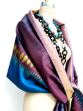Silk Ikat Double Side Shawl Turquoise Rose