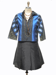 Modern Ikat Couture Cut Jacket Black And Cobalt