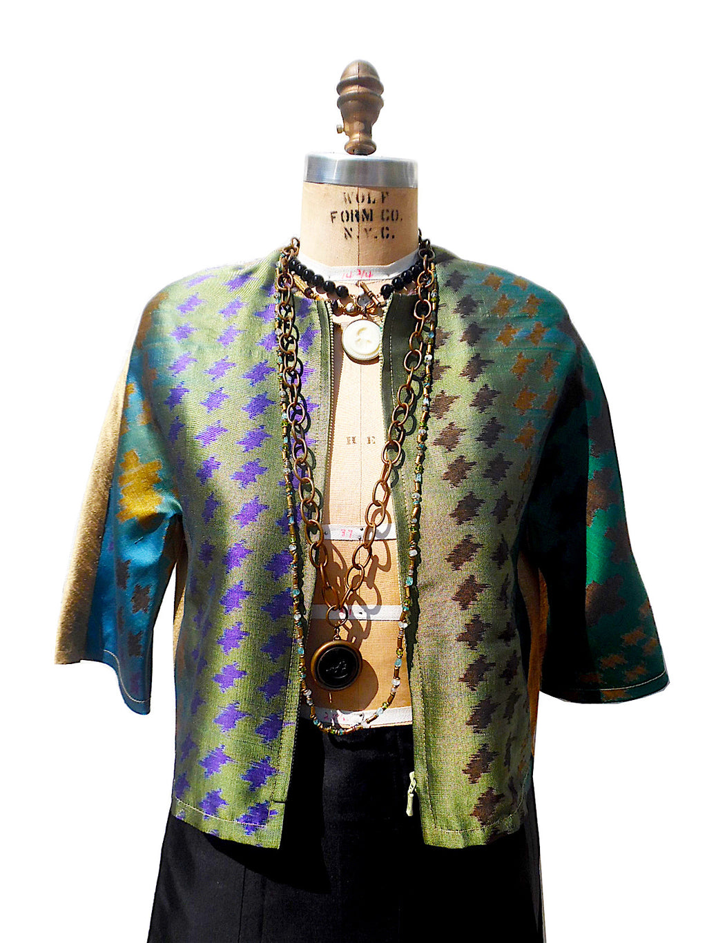 Modern Ikat Couture Cut Jacket Green Gold