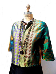 Modern Ikat Couture Cut Jacket Black and Green