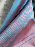 Silk Ikat Double Side Shawl Cerulean Pink Silver