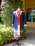 Reversible Silk Opera Coat Red White and Blue