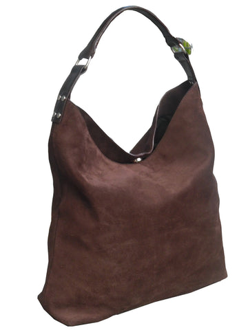 Pancho Hobo Bag In Suede Black or Chocolate