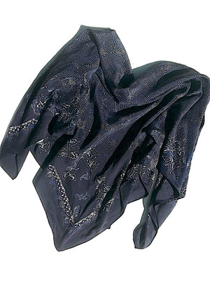 Large Silk Square Scarf Batik Digital Print