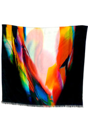 Shawl Silk And Cotton Abstract Art