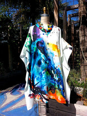 Caftan Silk Cotton V Neck