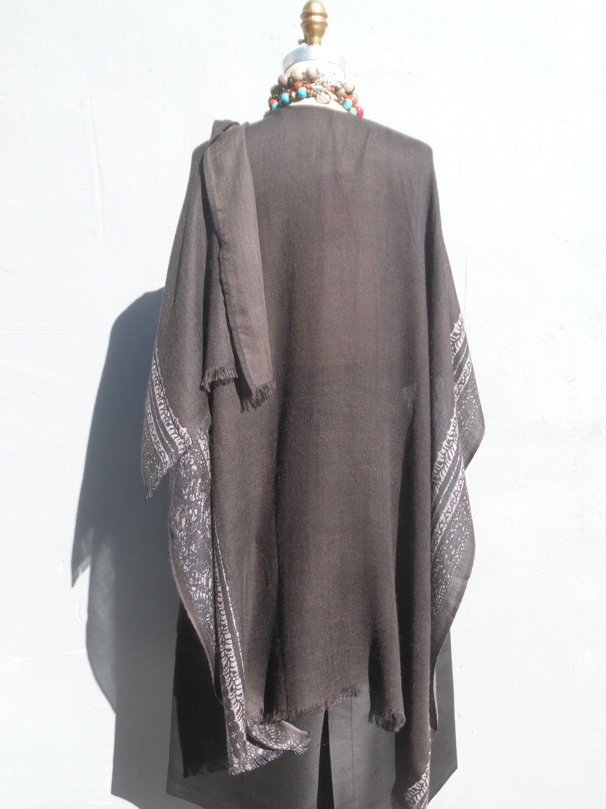Cape Shawl Silk And Cashmere Charcoal Silver