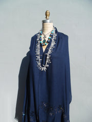Shawl Silk And Cashmere Navy Blue Crystal Bling Detail