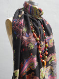 Shawl Silk And Cashmere Paisley Black and Bright