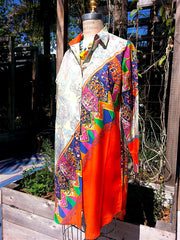 Paisley Colorblock Shirtdress Silk and Cotton