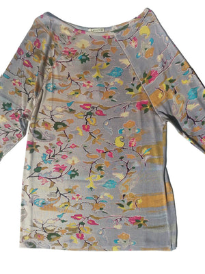 Silk Knit Long Tunic T Floral