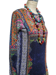 Cardigan Silk And Cashmere Paisley Black And Bright