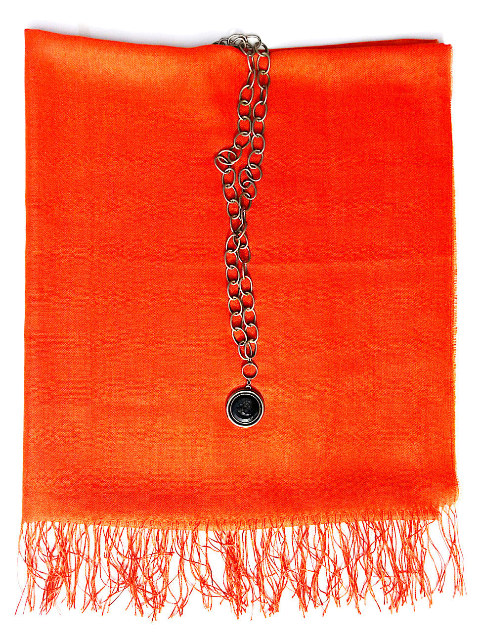Alpaca and Silk Gauzy Shawl Hot Orange