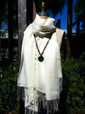 Alpaca and Silk Gauzy Shawl Ivory