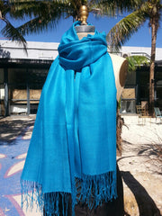 Alpaca and Silk Gauzy Shawl Turquoise