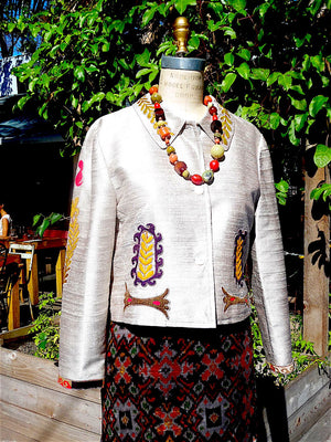 Box Jacket Vintage Suzani Embroidery Beige Lemongrass