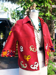 Couture Cut Silk Jacket With Vintage Suzani