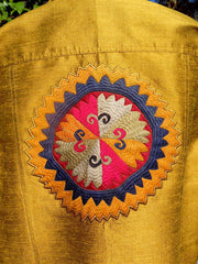 Jean Jacket Vintage Suzani Embroidery Amber