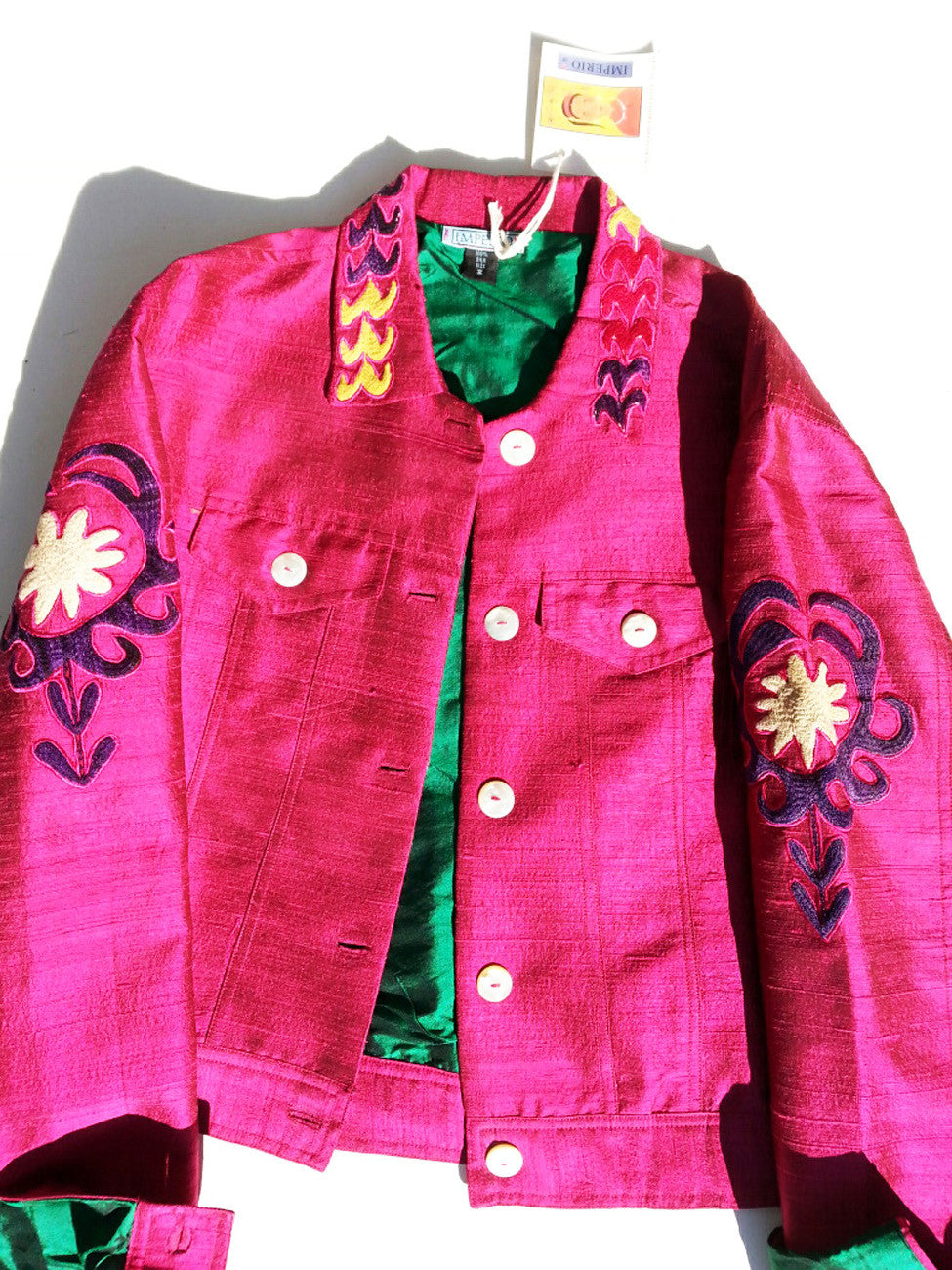 Jean Jacket Vintage Suzani Embroidery Raspberry Emerald