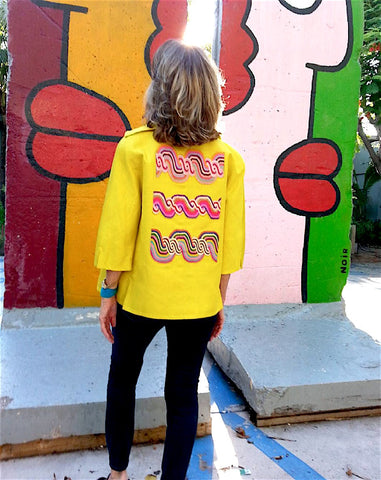 Couture Cut Peace Jacket Citron And Rainbow Swirl Long