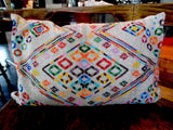 Hand Beaded Pillow Mayan Design White