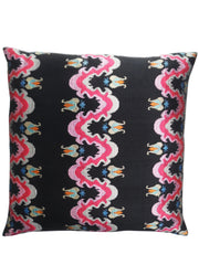 Burmese Silk Pillow Black White Red