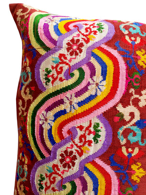 Burmese Silk Pillow Brown Floral Rainbow