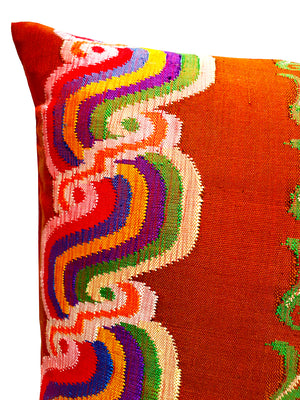Burmese Silk Pillow Brown Swirl