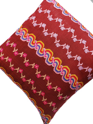 Burmese Silk Pillow Burgundy Floral