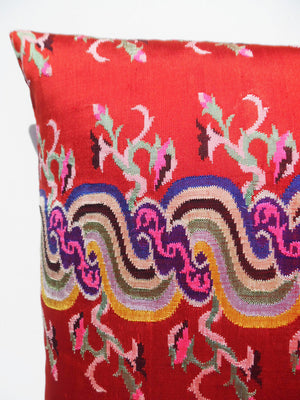 Pillow Hand Woven Burmese 10 Ply Red Chinoiserie
