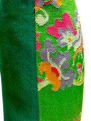 Burmese Silk Pillow Bright Green