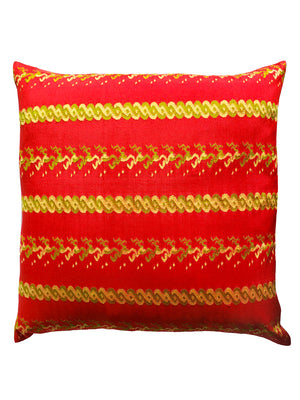 Burmese Silk Pillow Red Green