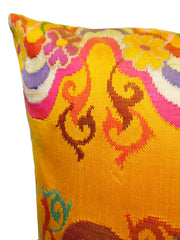 Pillow Hand Woven Burmese 10 Ply Saffron Scroll