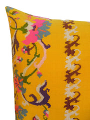 Burmese Silk Pillow Yellow Black White