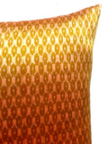 Cambodian Silk Ikat Pillow Olive Terracotta