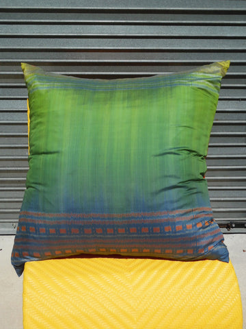 Enormous Thai Silk Ikat Floor Pillow Turquoise Orange