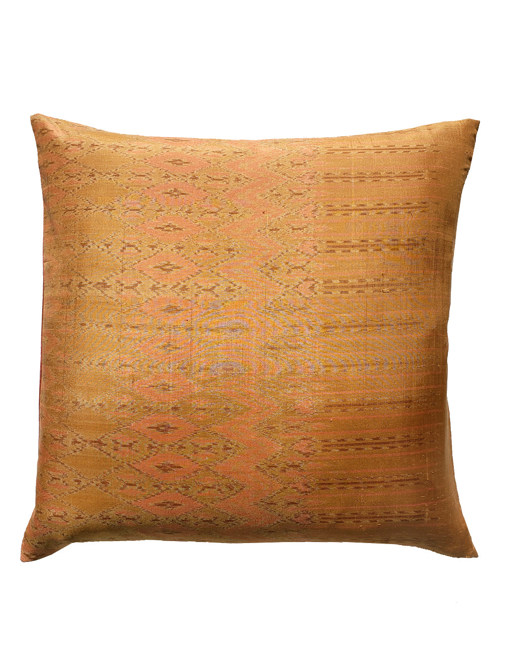 Thai Silk Modern Ikat Pillow Camel Coral