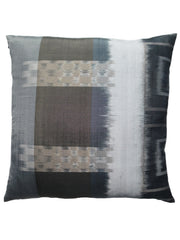 Thai Silk Modern Ikat Pillow Black Silver Brown Abstract