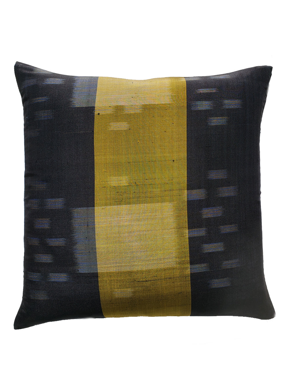 Thai Silk Modern Ikat Pillow Black Lemongrass