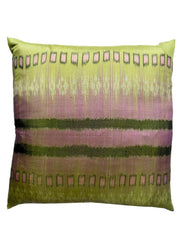 Thai Silk Modern Ikat Pillow Amethyst on Celadon