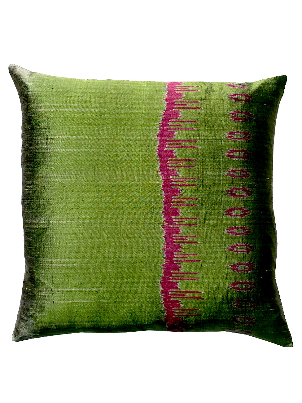 Thai Silk Modern Ikat Pillow Green Eggplant