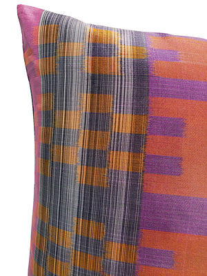 Thai Silk Modern Ikat Pillow Purple Orange