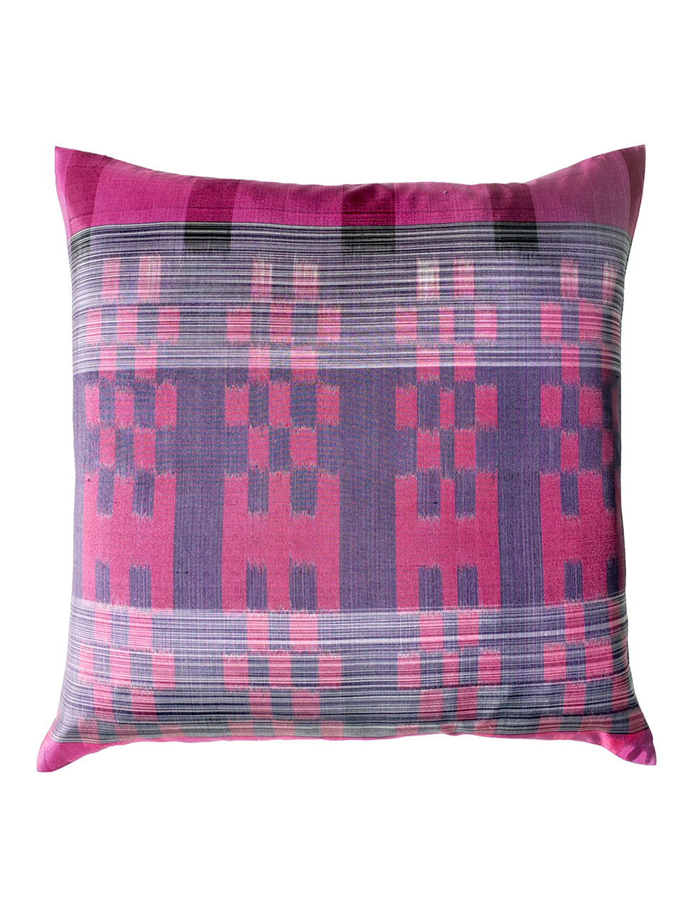 Thai Silk Modern Ikat Pillow Purple Rose