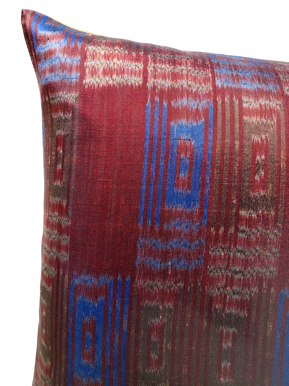 Thai Silk Modern Ikat Pillow Burgundy Blue