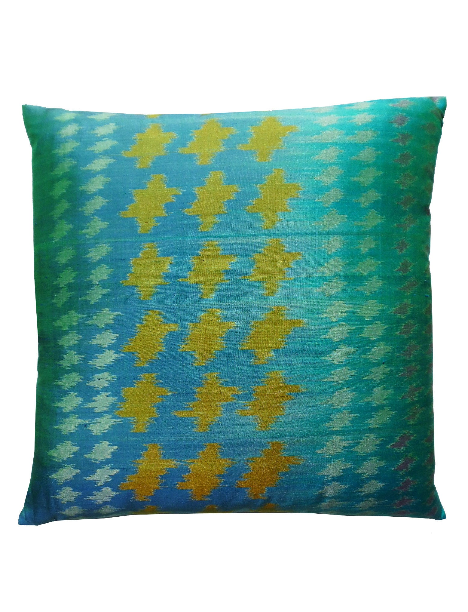 Thai Silk Modern Ikat Pillow Turquoise