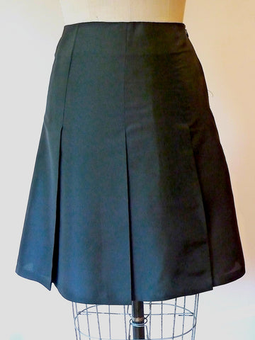 Pleated Cocktail Skirt Thai Silk Black