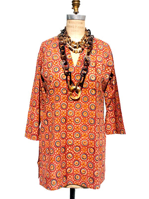 Raja Cotton Tunic Medallion Block Red
