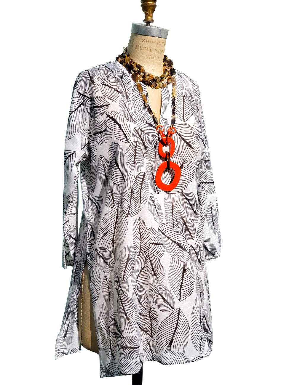 Raja Cotton Tunic Palm Vine